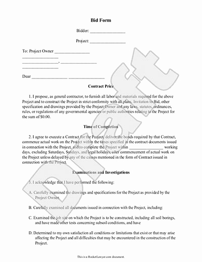 Free Printable Contractor Bid forms Awesome Construction Proposal Template Free Printable Documents