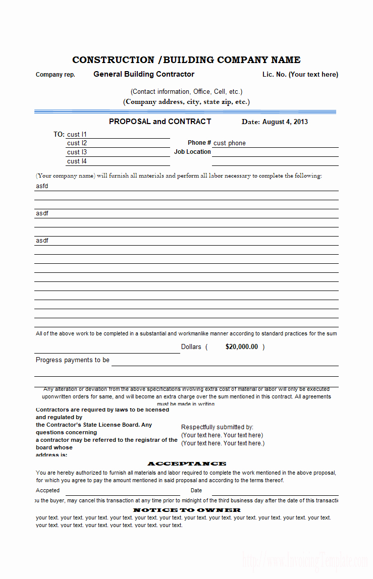 Free Printable Contractor Bid forms Beautiful Construction Proposal Template