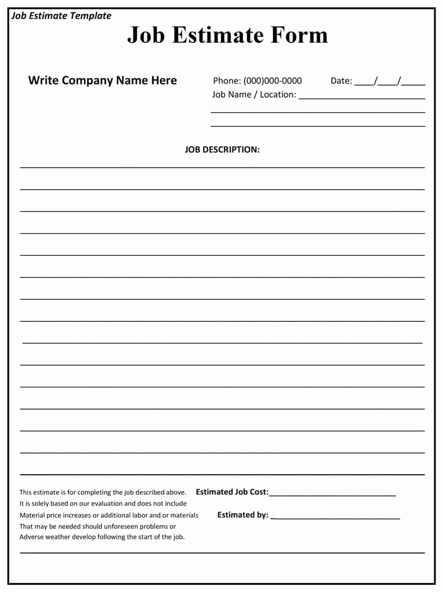 Free Printable Contractor Bid forms Best Of 44 Free Estimate Template forms [construction Repair