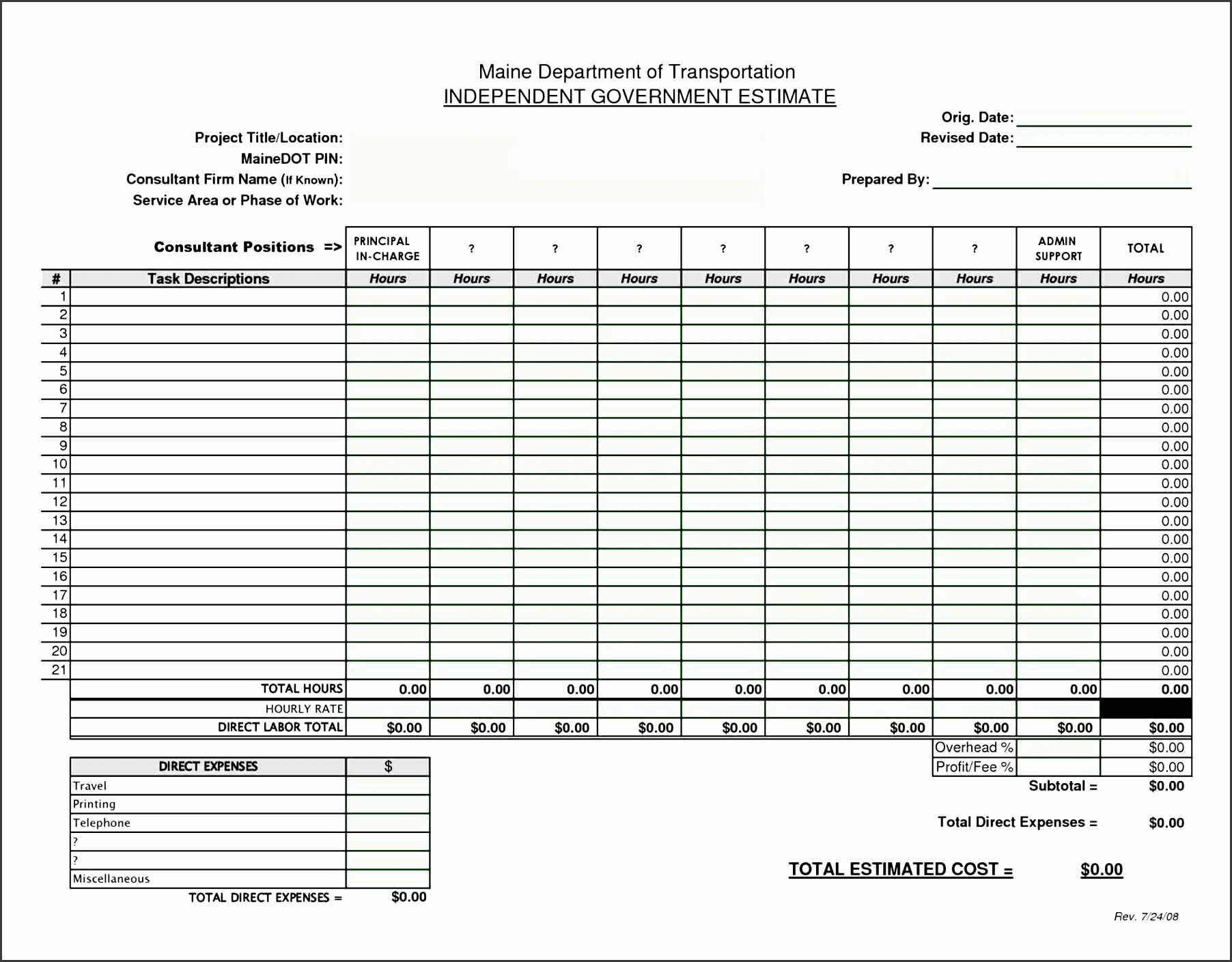Free Printable Contractor Bid forms Best Of 5 Excel Work Estimate Template Sampletemplatess
