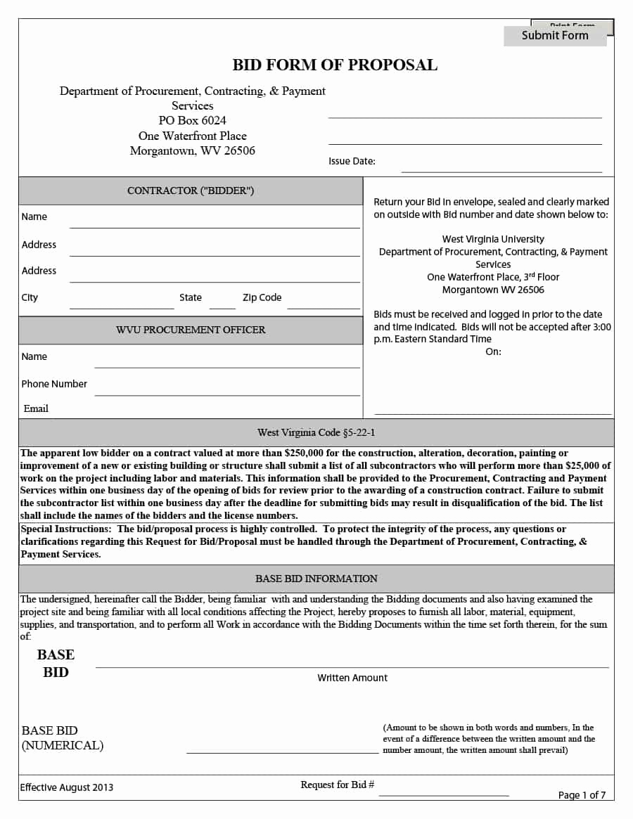 Free Printable Contractor Bid forms Elegant 31 Construction Proposal Template & Construction Bid forms