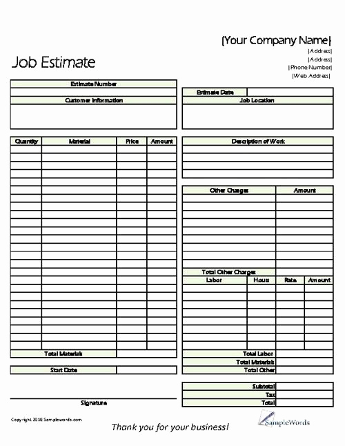 Free Printable Contractor Bid forms Elegant Estimate Printable forms & Templates