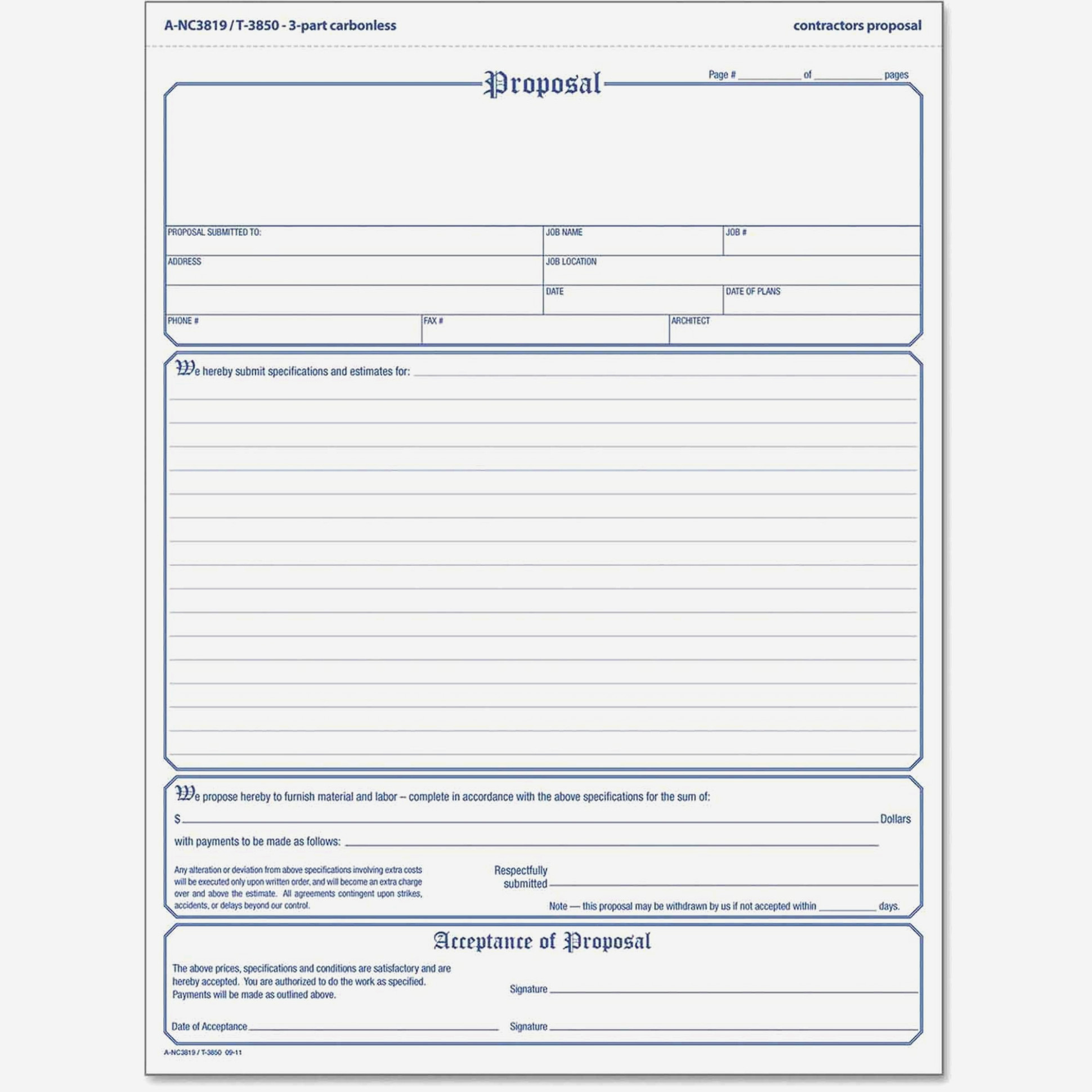 free printable proposal forms image