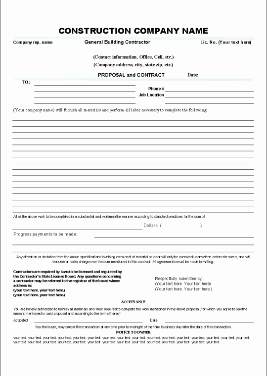 Free Printable Contractor Bid forms Elegant Printable Sample Construction Contract Template form