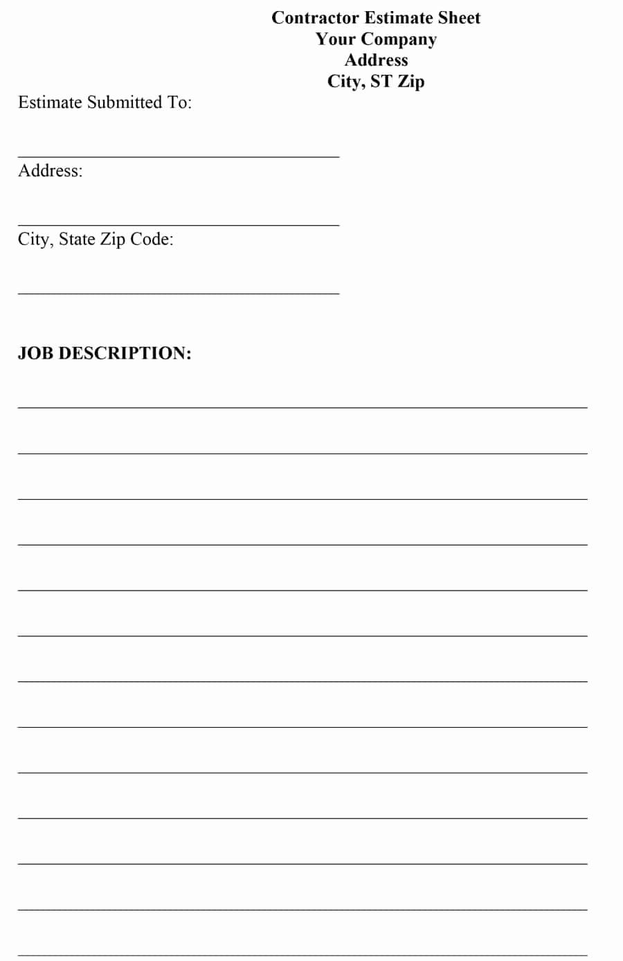 Free Printable Contractor Bid forms Fresh 44 Free Estimate Template forms [construction Repair