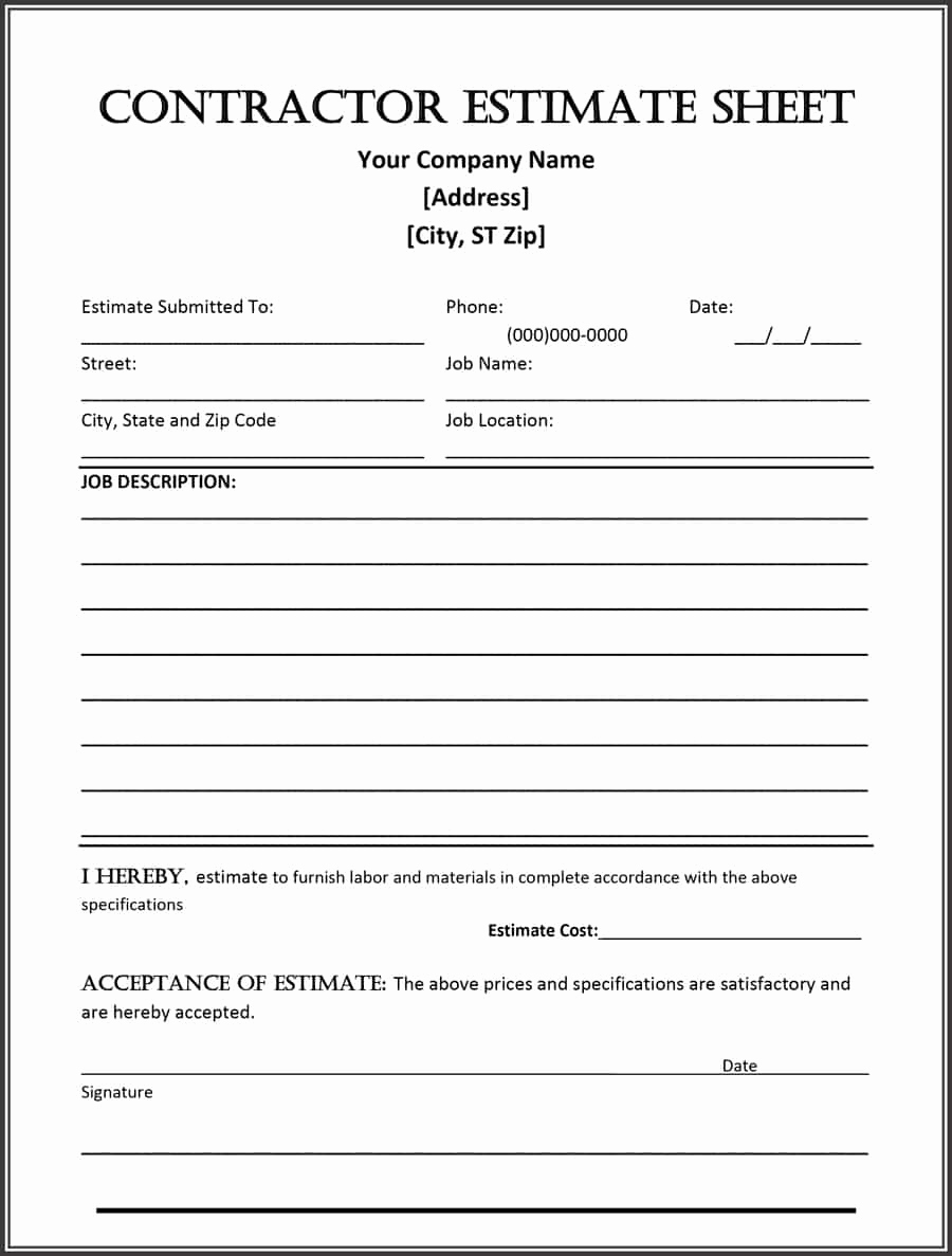 Free Printable Contractor Bid forms Inspirational 44 Free Estimate Template forms [construction Repair