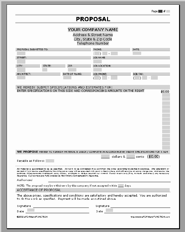 Free Printable Contractor Bid forms Lovely Business Proposal Templates Examples