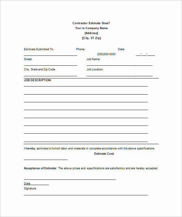 Free Printable Contractor Bid forms Luxury 26 Blank Estimate Templates Pdf Doc Excel Odt