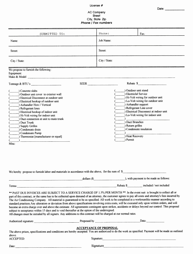 Free Printable Contractor Bid forms Unique Printable Blank Bid Proposal forms
