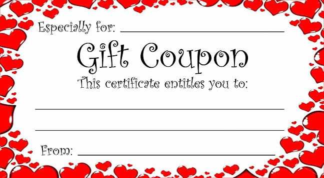 Free Printable Coupon Templates Elegant Heart theme T Coupon for Valentine S Day or Any Time
