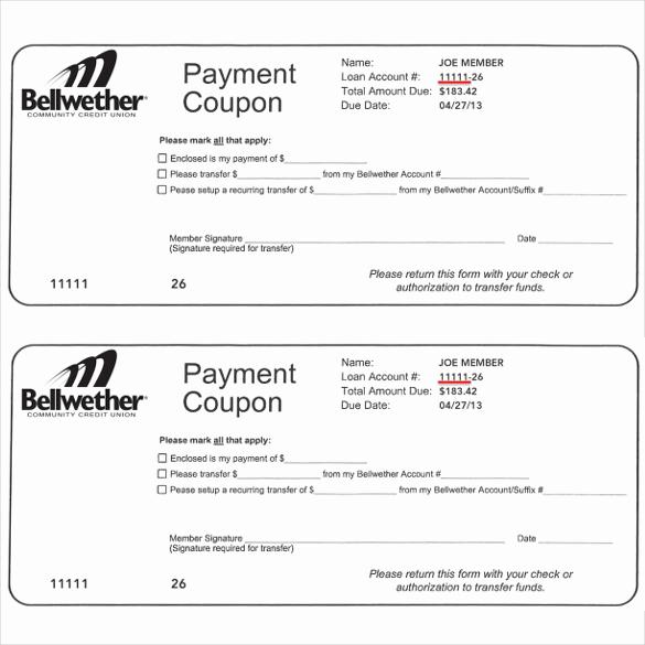 Free Printable Coupon Templates Fresh Payment Coupon Templates – 11 Free Printable Pdf