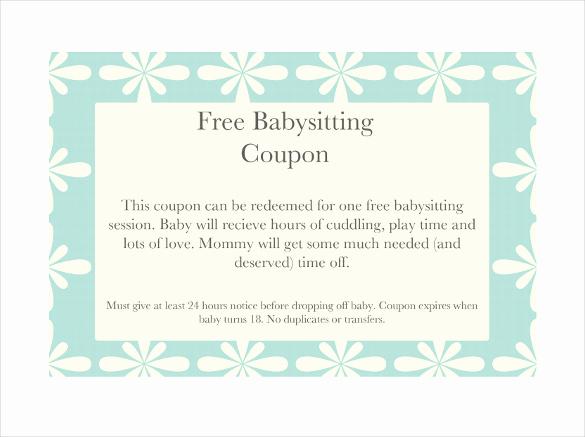 Free Printable Coupon Templates Inspirational 11 Baby Sitting Coupon Templates Psd Ai Indesign