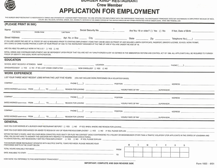 Free Printable Employment Application Beautiful Employment Application forms to Print