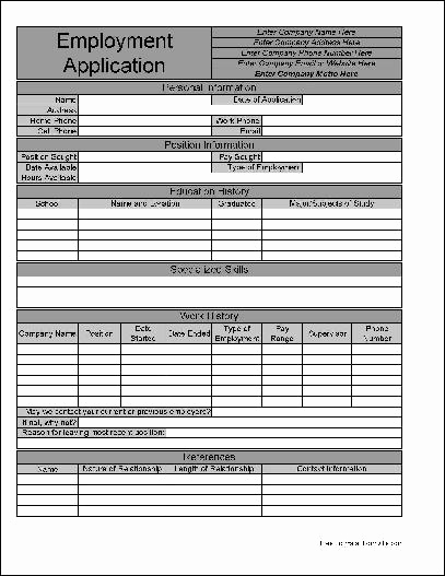 Free Printable Employment Application Fresh Free Personalized Job Application From formville