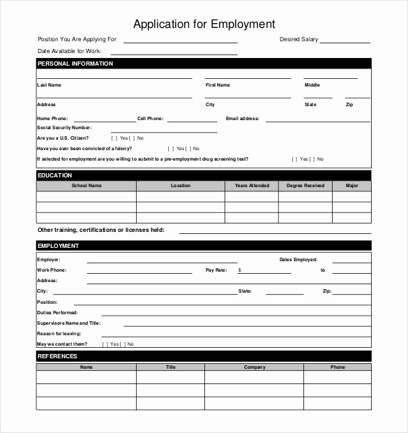 Free Printable Employment Application Lovely 10 Restaurant Application Templates – Free Sample