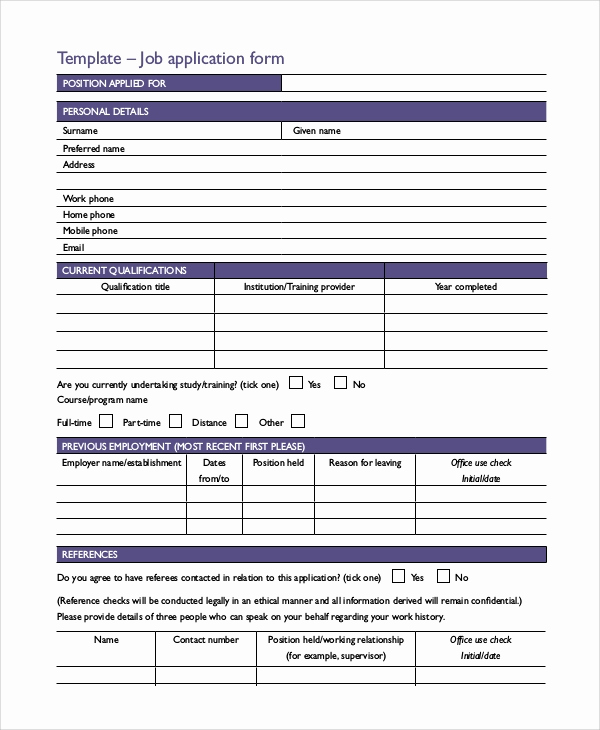 Free Printable Employment Application Lovely 10 Sample Printable Job Application forms