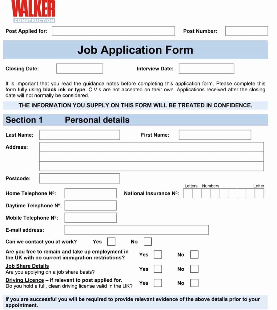 Free Printable Employment Application Lovely 50 Free Employment Job Application form Templates