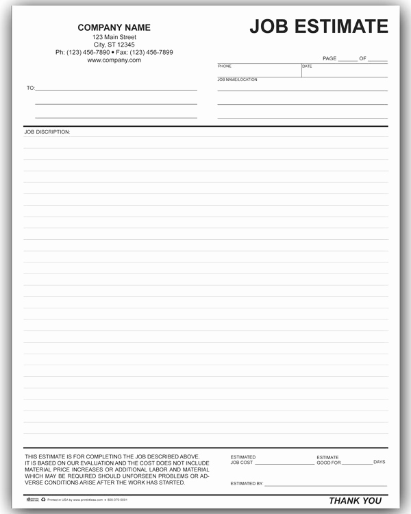 Free Printable Estimate forms Awesome Job Estimate form