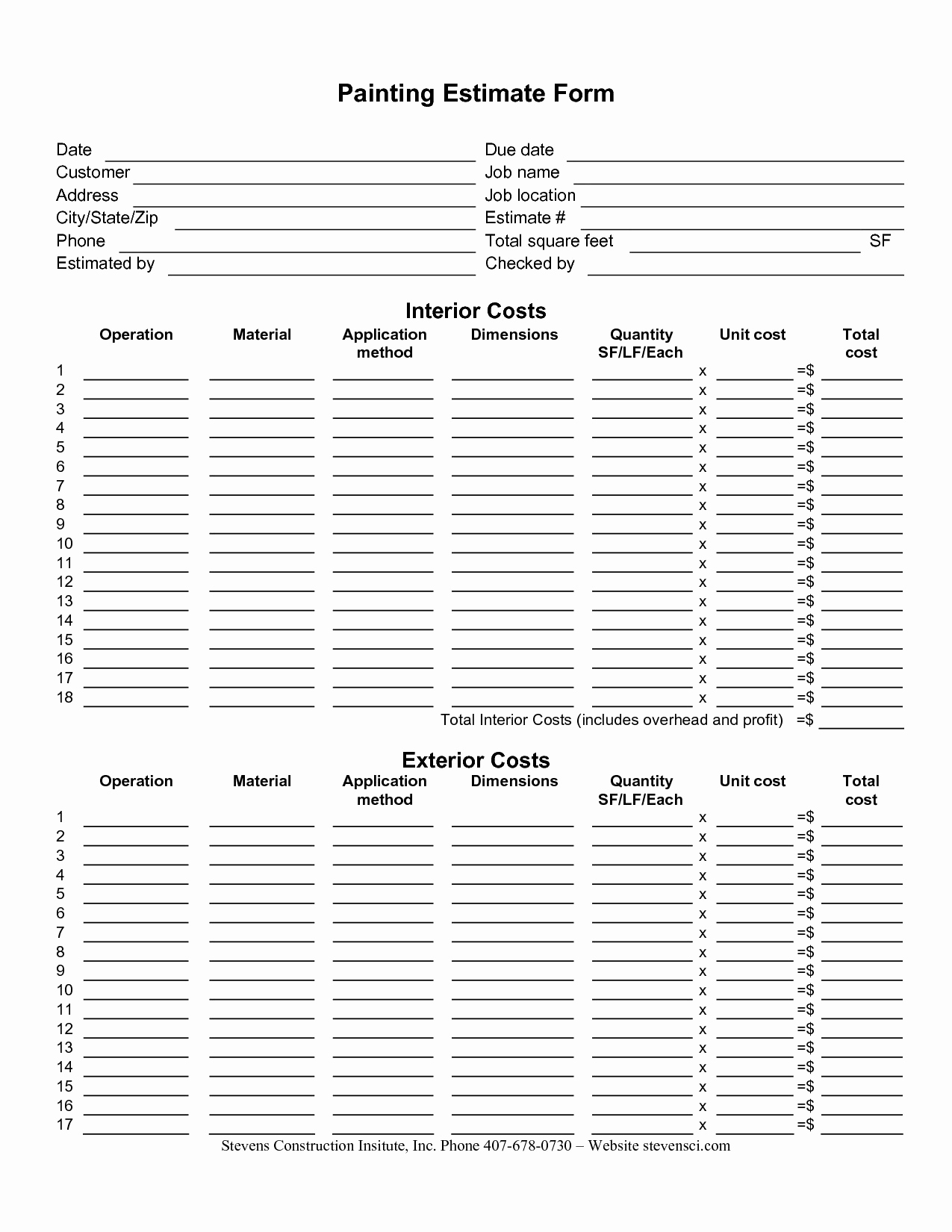 Free Printable Estimate forms Awesome Painting Estimate form Sample