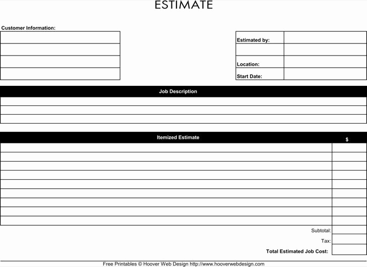 Free Printable Estimate forms Best Of Download Blank Estimate Template for Free Tidytemplates
