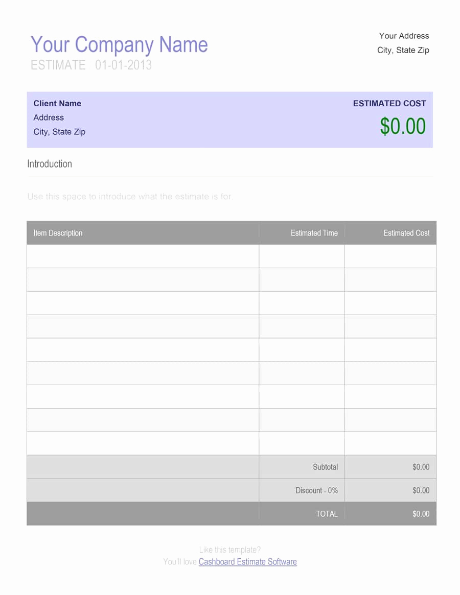 Free Printable Estimate forms Lovely 44 Free Estimate Template forms [construction Repair