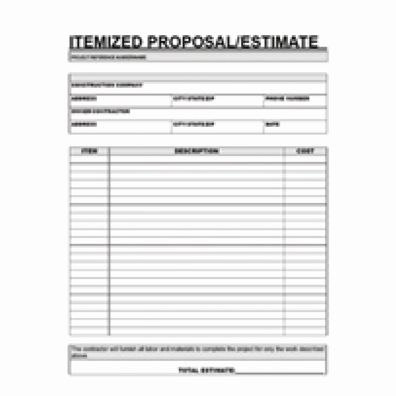 Free Printable Estimate forms New Free Printable Contractor Proposal forms