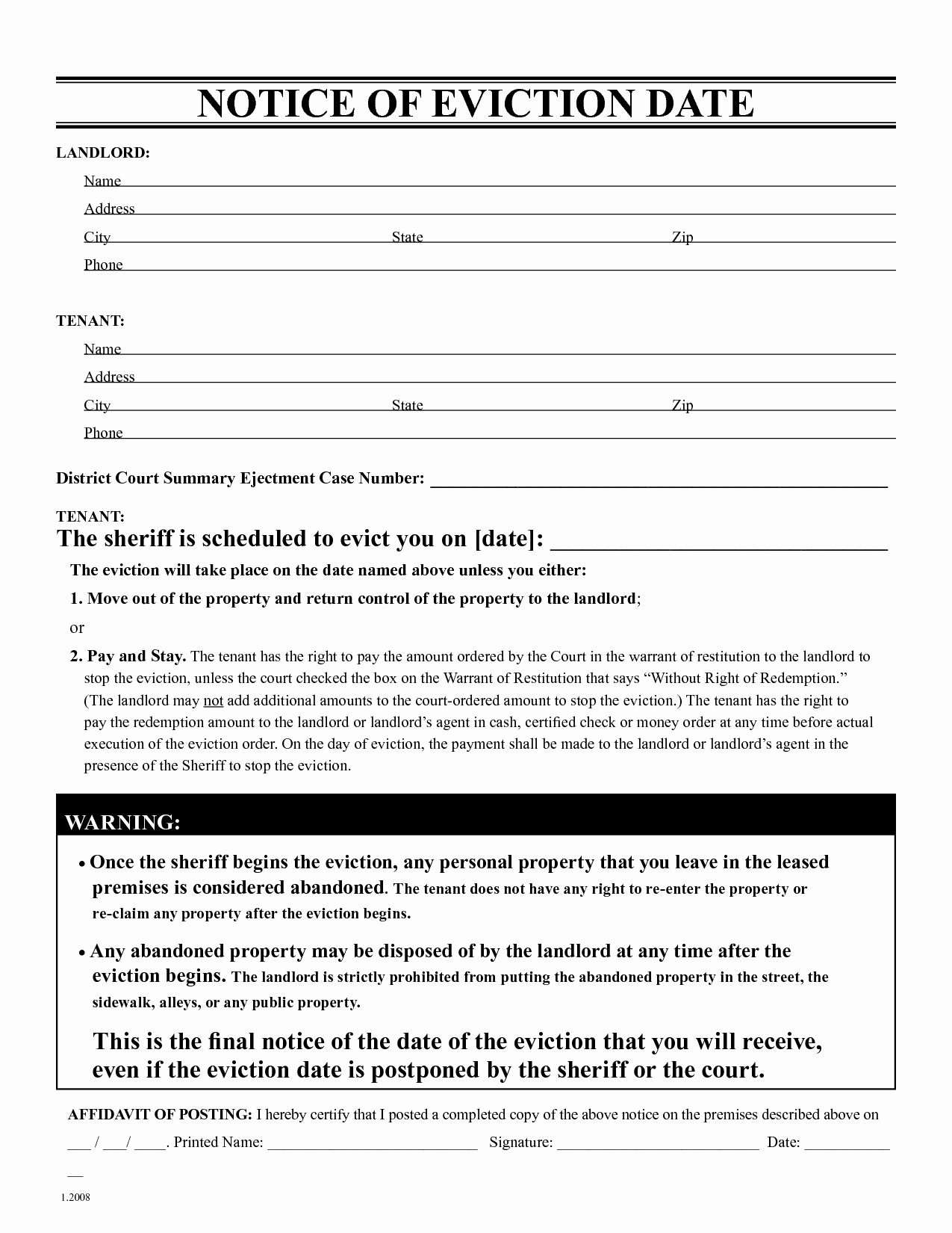 Free Printable Eviction Notice Awesome Free Eviction Notice Template