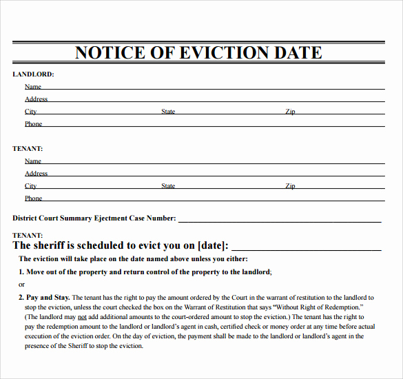 Free Printable Eviction Notice Fresh 43 Eviction Notice Templates Pdf Doc Apple Pages