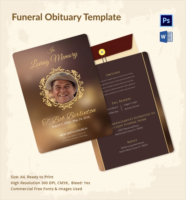 Free Printable Funeral Program Template Awesome 12 Sample Funeral Obituary Templates