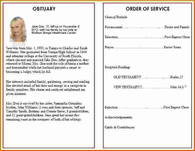 Free Printable Funeral Program Template Beautiful 9 Memorial Service Program Template