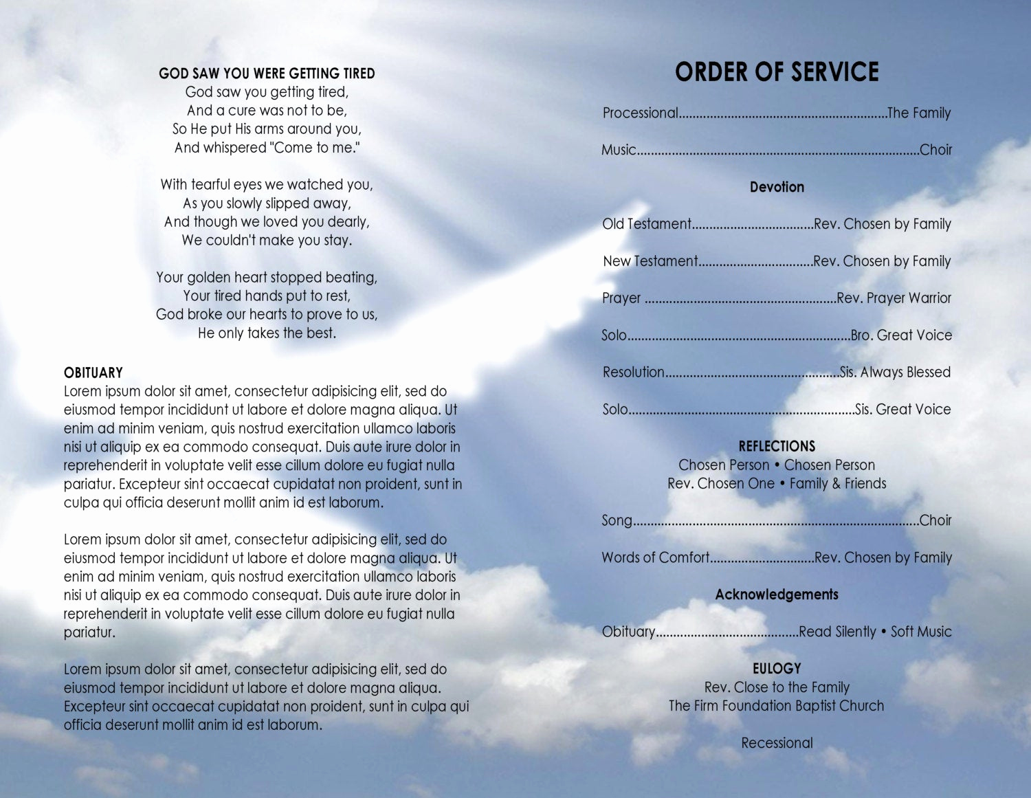 Free Printable Funeral Program Template Fresh 11x17 Heavenly Dove Printable Funeral Program