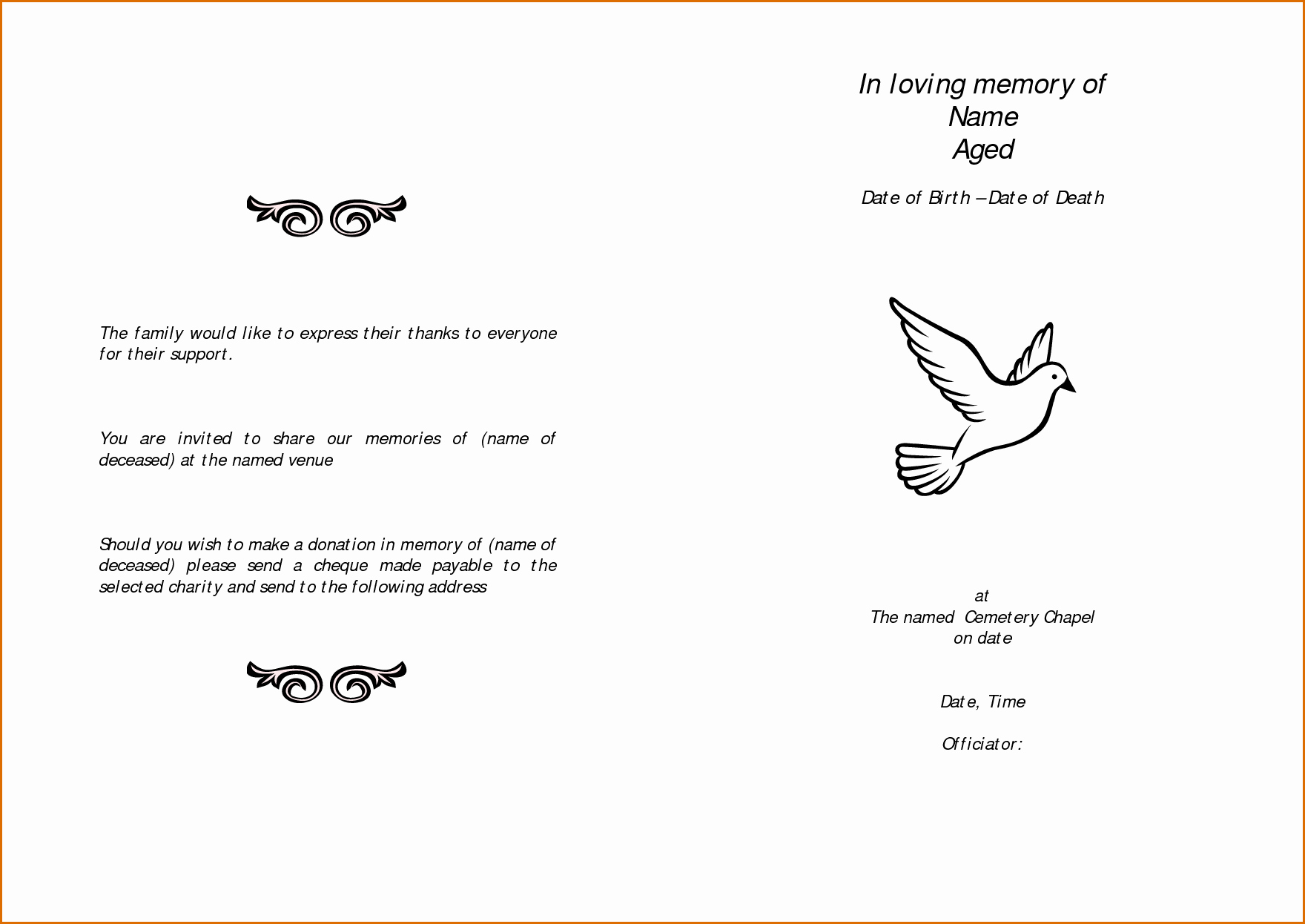 Free Printable Funeral Program Template Fresh 12 Free Printable Funeral Program Template