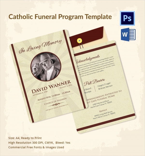 Free Printable Funeral Program Template Fresh Sample Catholic Funeral Program 12 Documents In Pdf