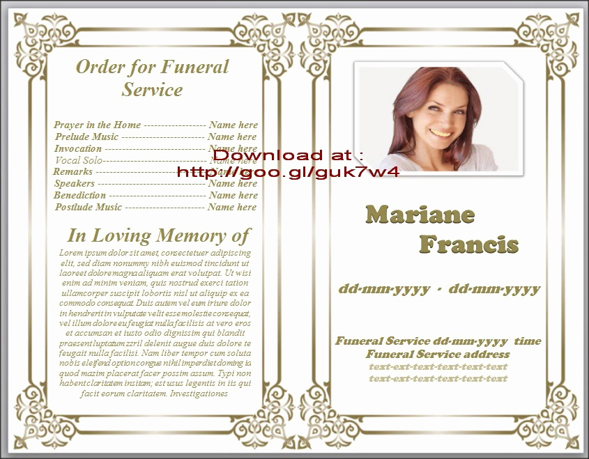 Free Printable Funeral Program Template Inspirational Obituary Templates