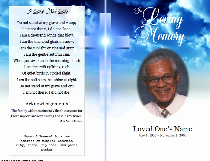 Free Printable Funeral Program Template Lovely Cross Single Fold Funeral Program Funeral Pamphlets