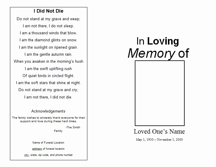 Free Printable Funeral Program Template Lovely the Funeral Memorial Program Blog Free Funeral Program