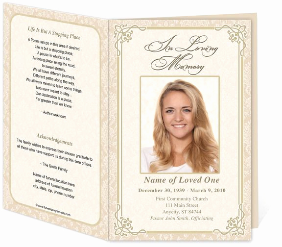 Free Printable Funeral Program Template New Download Edit Print Ready Made Program
