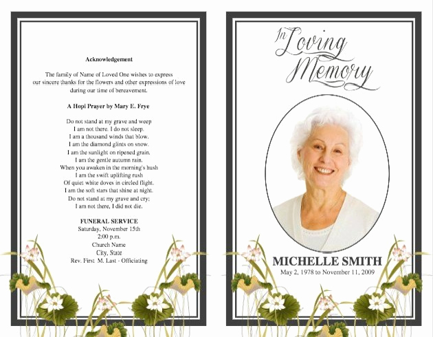 Free Printable Funeral Program Template New Free Printable Funeral Programs Templates Image – Free
