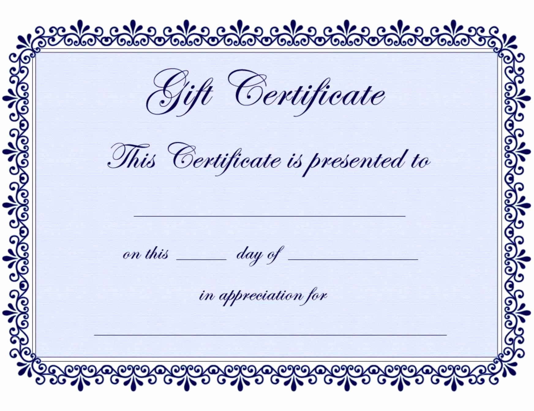 Free Printable Gift Certificate Templates Best Of Free Printable Gift Certificate Template Word Template