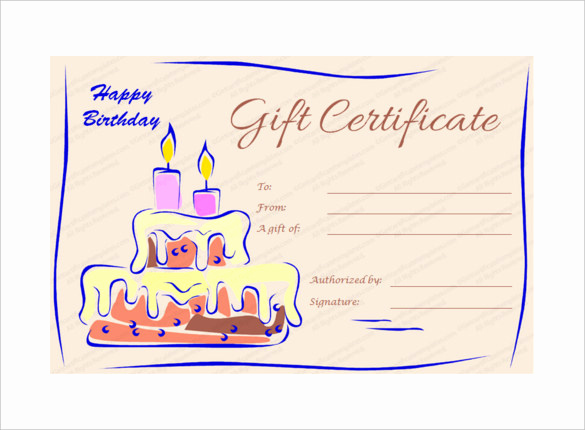 Free Printable Gift Certificate Templates Fresh 20 Birthday Gift Certificate Templates Free Sample