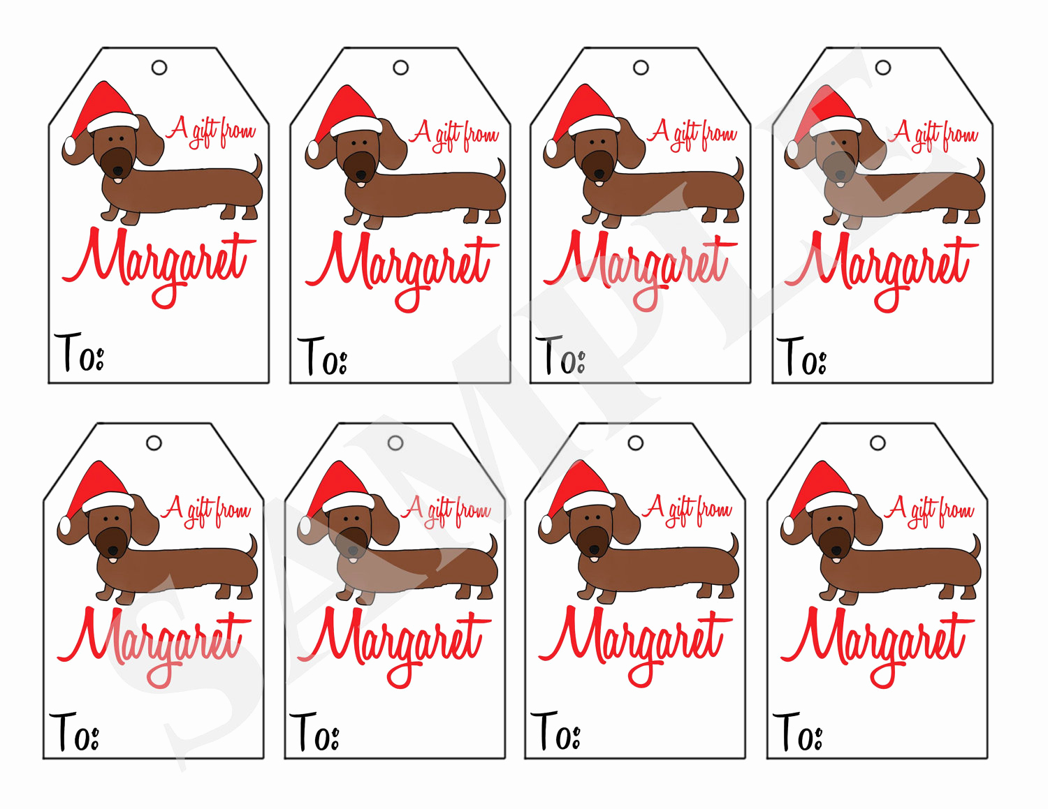 Free Printable Gift Tags Personalized Awesome Printable Personalized Christmas Dachshund Dog T Tags