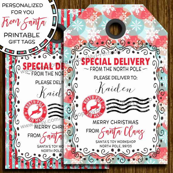 Free Printable Gift Tags Personalized Beautiful Items Similar to Printable Santa Gift Tags Personalized