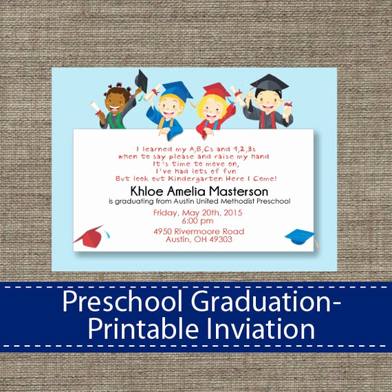 Free Printable Graduation Announcements Elegant Preschool Graduation Invitation Diy Printable