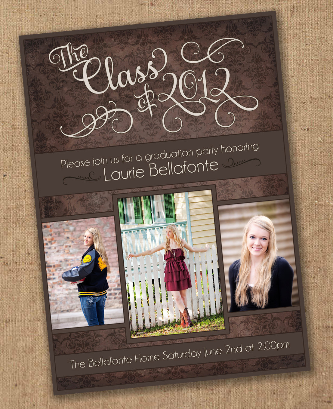 Free Printable Graduation Announcements Luxury Damask Graduation Invitation Printable