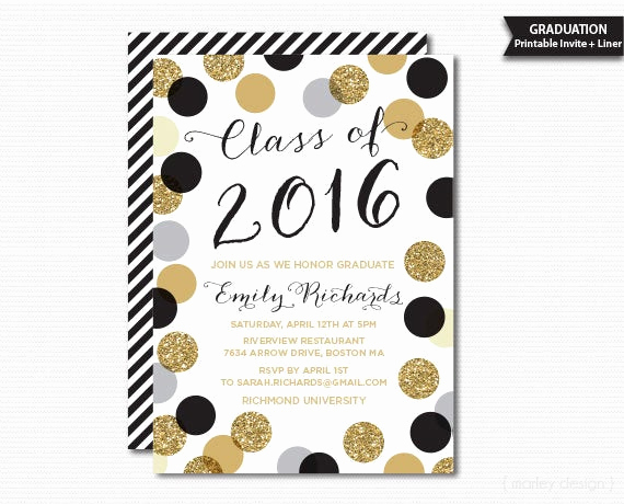 Free Printable Graduation Announcements New Printable Graduation Invitation Black Gold Polka by