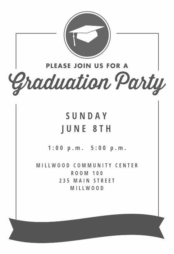 Free Printable Graduation Invitations Fresh Ribbon Graduation Graduation Party Invitation Template