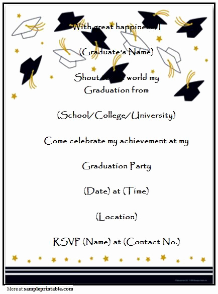 Free Printable Graduation Invitations Inspirational Homemade Graduation Party Invitation Printable Homemade