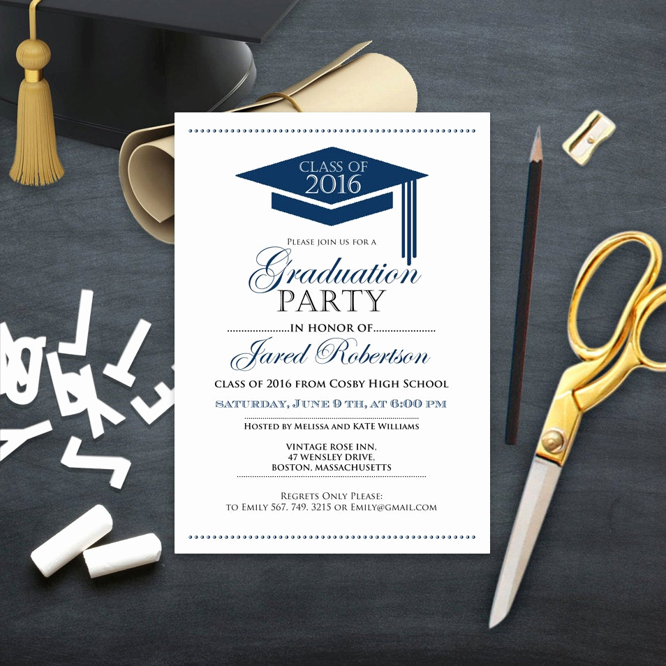 Free Printable Graduation Invitations New Graduation Announcement Boy Printable Template Navy High