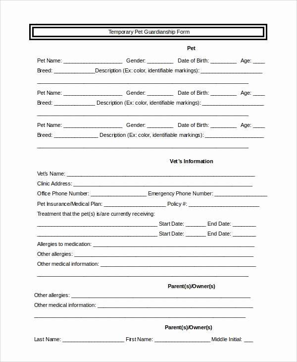 Free Printable Guardianship forms Awesome 10 Sample Temporary Guardianship forms Pdf