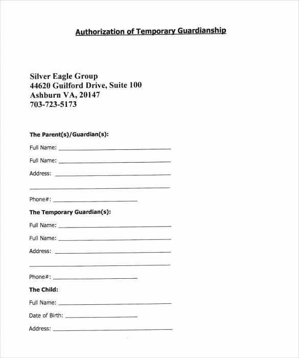 Free Printable Guardianship forms Awesome 9 Temporary Guardianship form Templates to Download